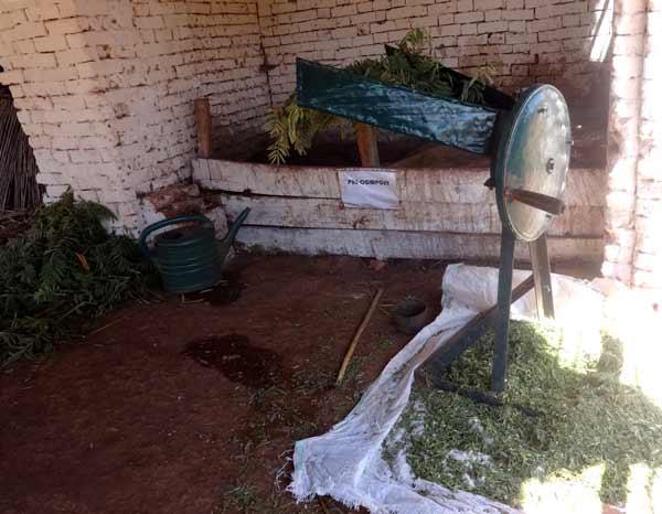 Mécanisation du système de broyage des feuilles à utiliser pour le composte ou le lombricompote.